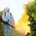 uomo che irrora pesticidi
